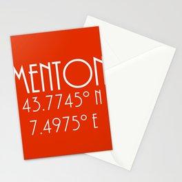 Menton Latitude Longitude Stationery Cards