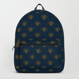 Vintage Midnight Blue and Golden Honey Bee Backpack