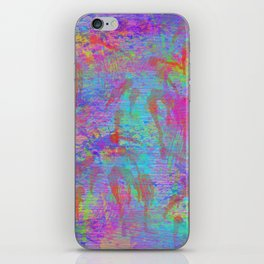 Whimsical pink teal neon green yellow abstract watercolor iPhone Skin