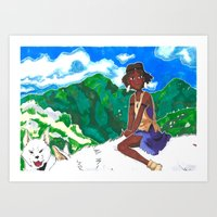 Girl on Wolf Art Print