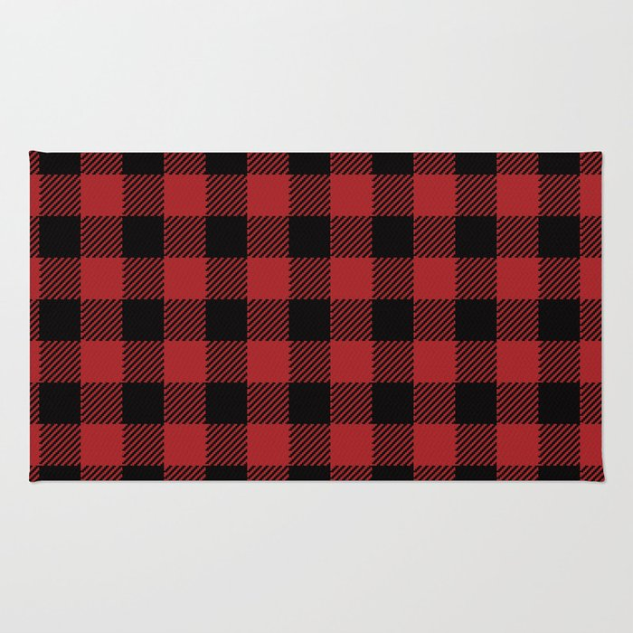 90's Buffalo Check Plaid in Red and Black Rug