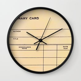 Library Card BSS 28 Wall Clock