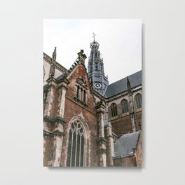 Saint Bavo Cathedral II in Haarlem from below | Iconic historical gothic architecture | Urban fine art print Metal Print