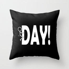 Hump Day - Humping Stickman Sarcasm Humor White Typography Throw Pillow