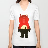 wild things V-neck T-shirts featuring Wild Things by Duke Dastardly