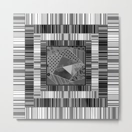 Abstract pattern . Patchwork striped . Metal Print