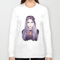 cara delevingne Long Sleeve T-shirts featuring Cara Delevingne by Alana Mays Creative