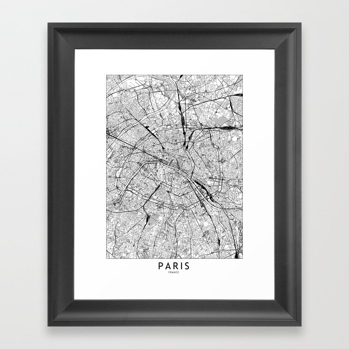 Paris White Map Gerahmter Kunstdruck
