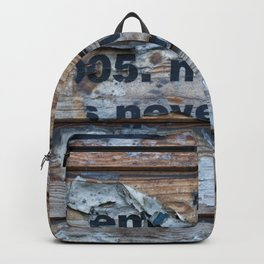 Distressed Poster Fragments On Old Planks Backpack