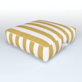 Large Mustard Yellow and White Cabana Tent Stripe Outdoor Floor Cushion