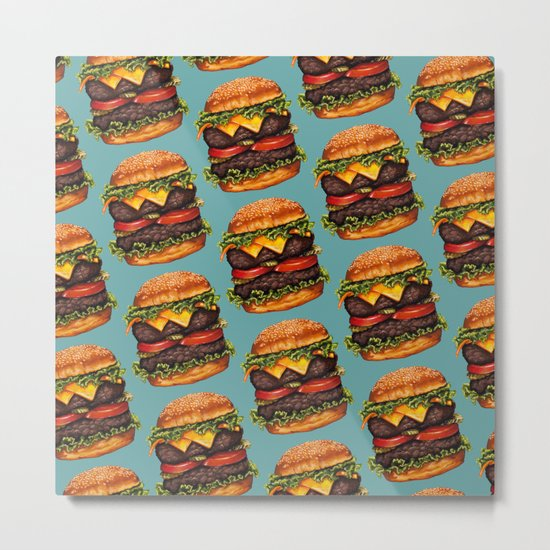 Double Cheeseburger Pattern Metal Print
