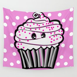 Cute Cupcake In Pink Wall Tapestry