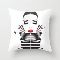 striped Throw Pillows featuring striped by Yordanka Poleganova