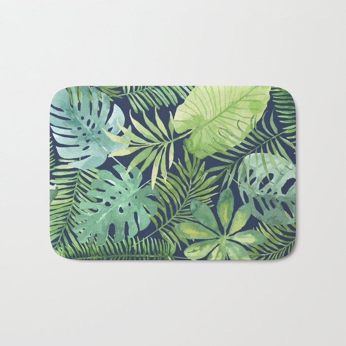 Tropical Branches on Dark Pattern 07 Bath Mat
