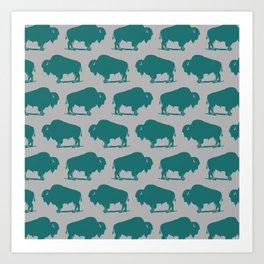 Buffalo Bison Pattern 266 Teal and Gray Art Print