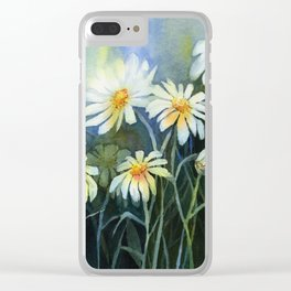 Daisies Watercolor Abstract Flowers Clear iPhone Case