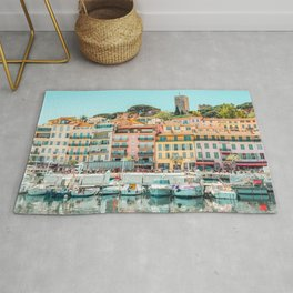 Cannes City Print, Luxurious Yachts And Boats, French Riviera, Travel Print, City Marina Port In France Poster, Colored Houses Photography, Colorful Home, Home Decor, Wall Art Print Rug