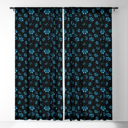 Paw print seamless pattern  in blue color on black background Blackout Curtain