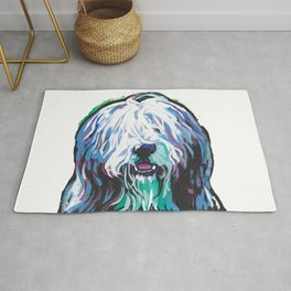 Fun Bearded Collie Dog Portrait bright colorful Pop Art Dog Painting by LEA Rug