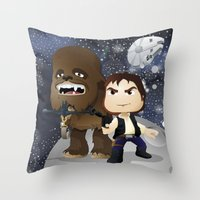 han solo Throw Pillows featuring Han Solo & Chewbacca by 7pk2 online