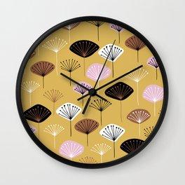 dandelion yellow black pink purple white pattern print Wall Clock