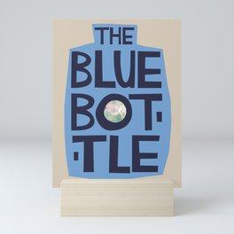 The Blue Bottle - typographic design Mini Art Print