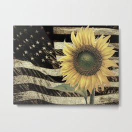Rustic Sunflower Flower on Flag Country Art Cottage Chic A050 Metal Print