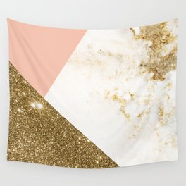 Gold marble collage Wall Tapestry