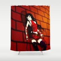 manga Shower Curtains featuring My Manga Girl  by Nikki Xiao