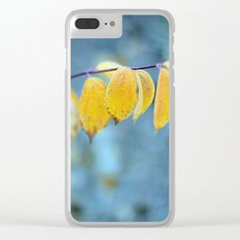Yellow Leaves on Blue Clear iPhone Case