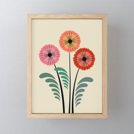 Retro flowers Framed Mini Art Print
