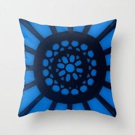 Spin the Wheel Blue Throw Pillow