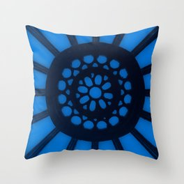 Spin the Wheel Blue Throw Pillow