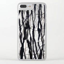 Tree Bark Monochrome Clear iPhone Case