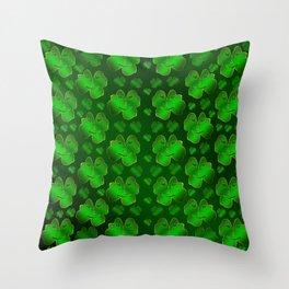 funny, laughing, shamrocks, green, st patricks day, shiny, gold, face, smile, shamrock Throw Pillow