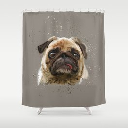 Love your Pug Watercolor Shower Curtain