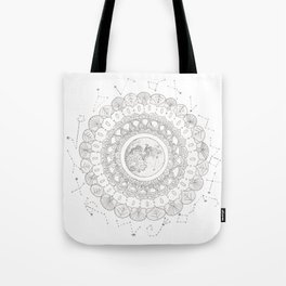 Mandala with Full Moon and Constellations Illustration Tote Bag