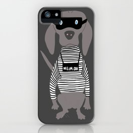 Weim Crime Grey Ghost Weimaraner Dog Hand-painted Pet Drawing iPhone Case