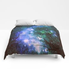 Black Trees Violet Green Space Comforters
