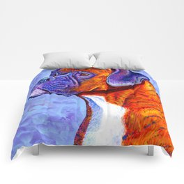 Colorful Brindle Boxer Dog Comforters