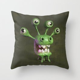 Four-eyed monster Throw Pillow