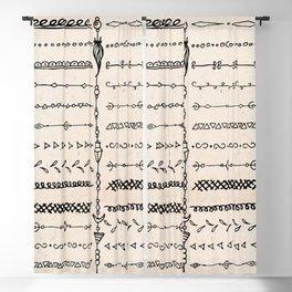 Vintage white modern black bohemian aztec pattern Blackout Curtain