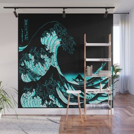 The Great Wave : Dark Teal Wall Mural