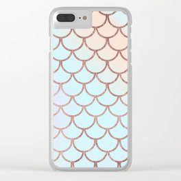 Blush tones rose gold watercolor gradient scallope Clear iPhone Case