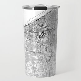 Cleveland White Map Travel Mug