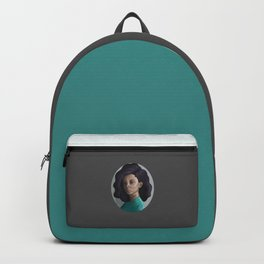 Young woman in green Backpack