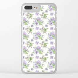 Succulents Pattern Purple and Green Clear iPhone Case