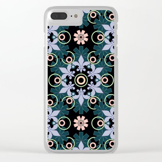 Abstract Oriental pattern on a black background. Clear iPhone Case