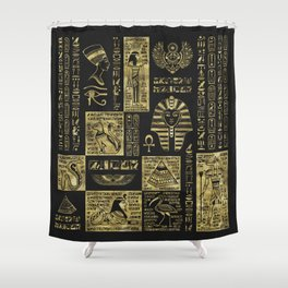 Egyptian  hieroglyphs and symbols gold on black leather Shower Curtain
