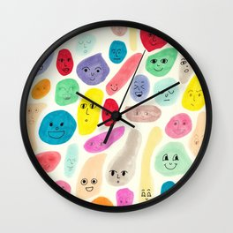 Colored Faces Wall Clock